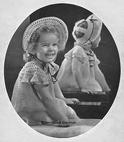 Product picture 1939 Flower Girl Dress and Hat Size 3 Crochet Pattern
