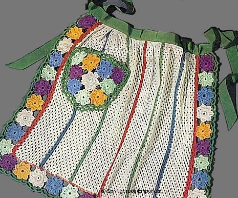 Product picture Flower Trimmed Dish Cloth Apron Vintage Crochet Pattern