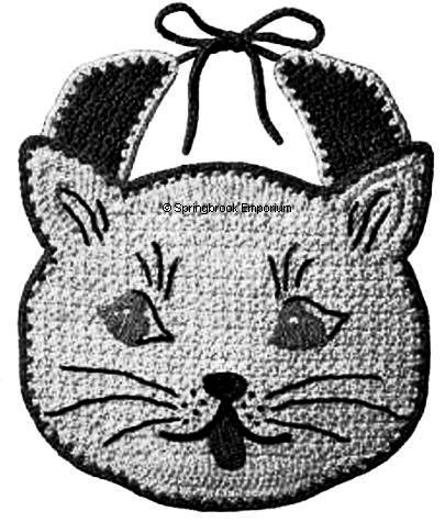 Product picture Kitty Cat Face Baby Shower Gift Bib Crochet Pattern